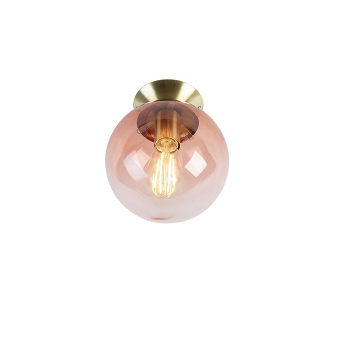 Art-Deco-Ceiling-Lamp-Brass-with-Dark-Pink-Shade---Pallon