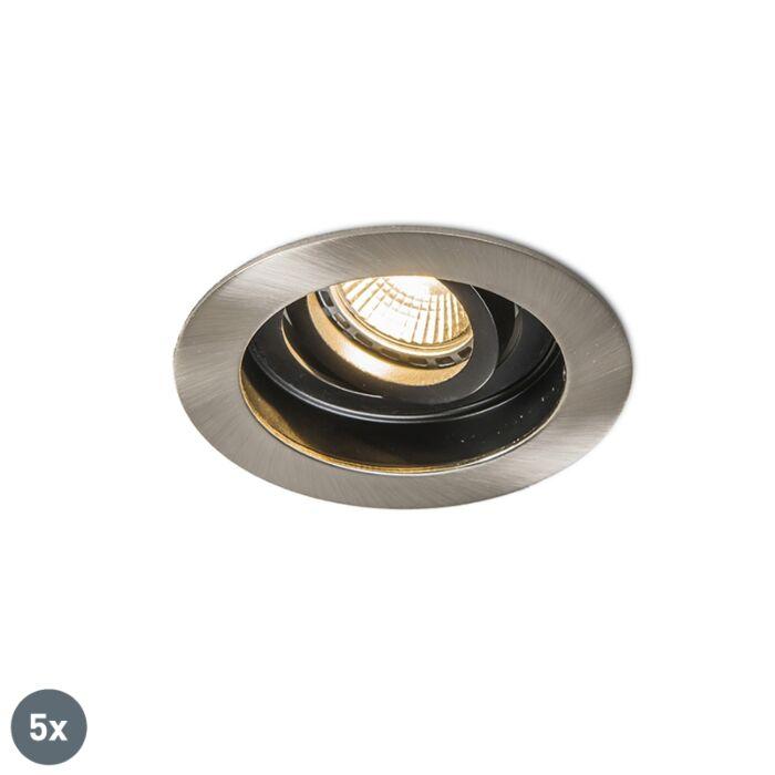 Set-of-5-Modern-Recessed-Spotlight-Steel---Rondoo