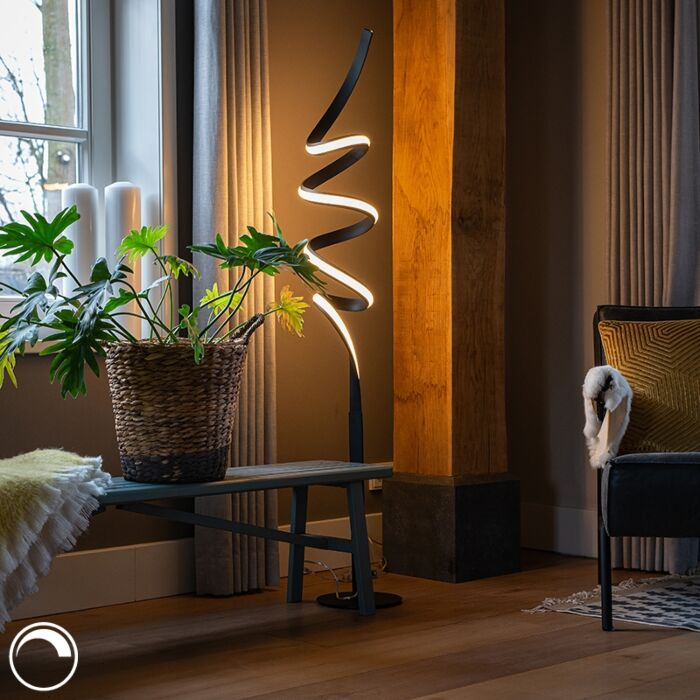 Design-floor-lamp-black-incl.-LED-and-dimmer---Twisted