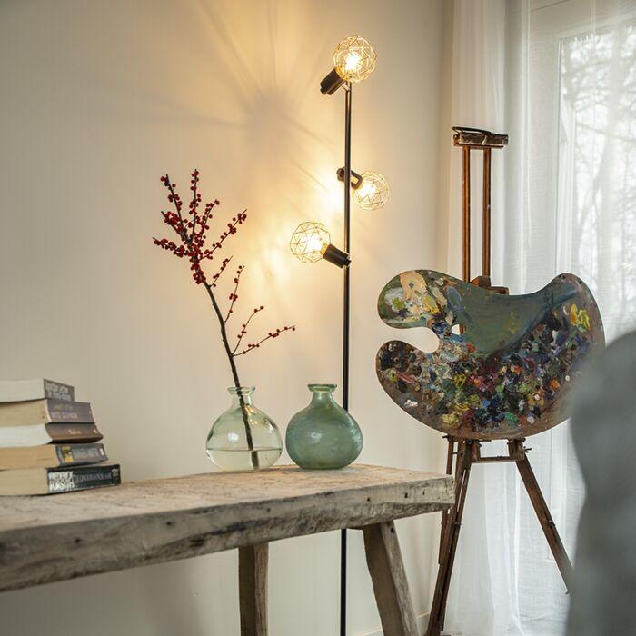 Floor-lamp-black-with-copper-3-light---Mesh