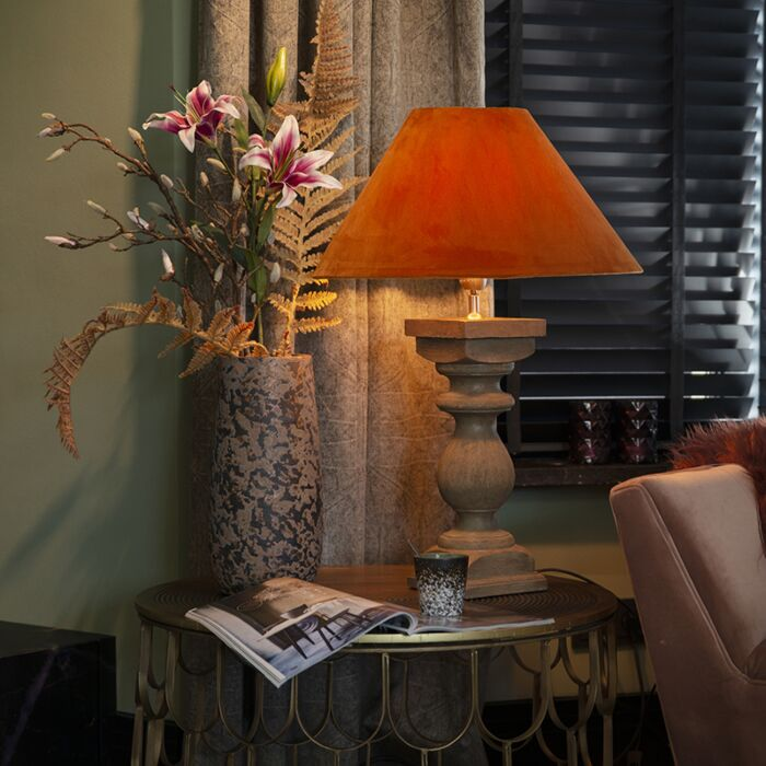Country-table-lamp-with-velor-shade-pumpkin-spice-50-cm---Hyssop