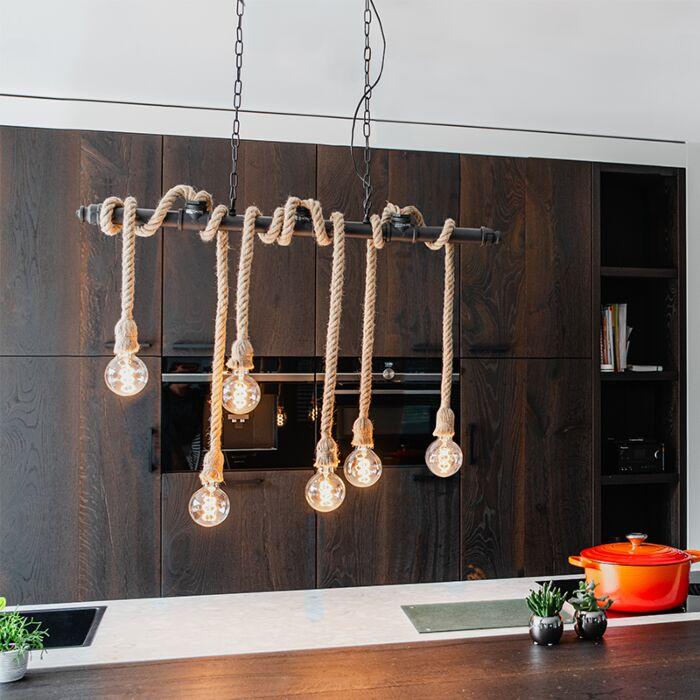 Industrial-hanging-lamp-black-6-light---Plural