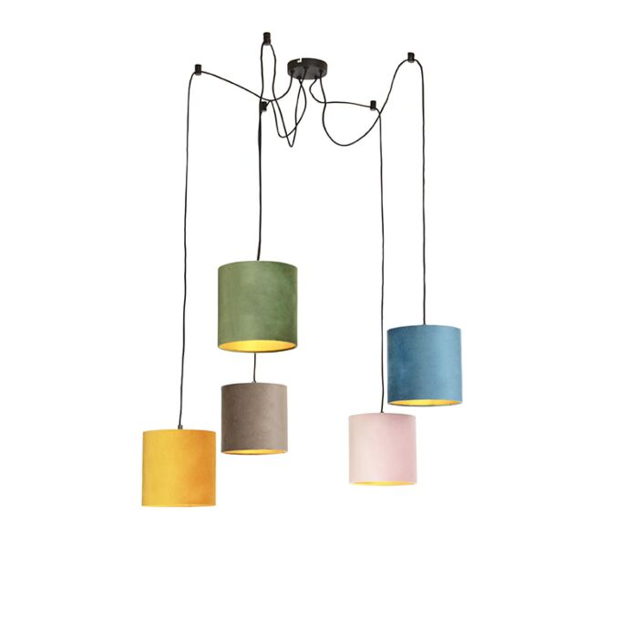 Hanging-lamp-with-5-colored-velor-shades-20-cm---Cava