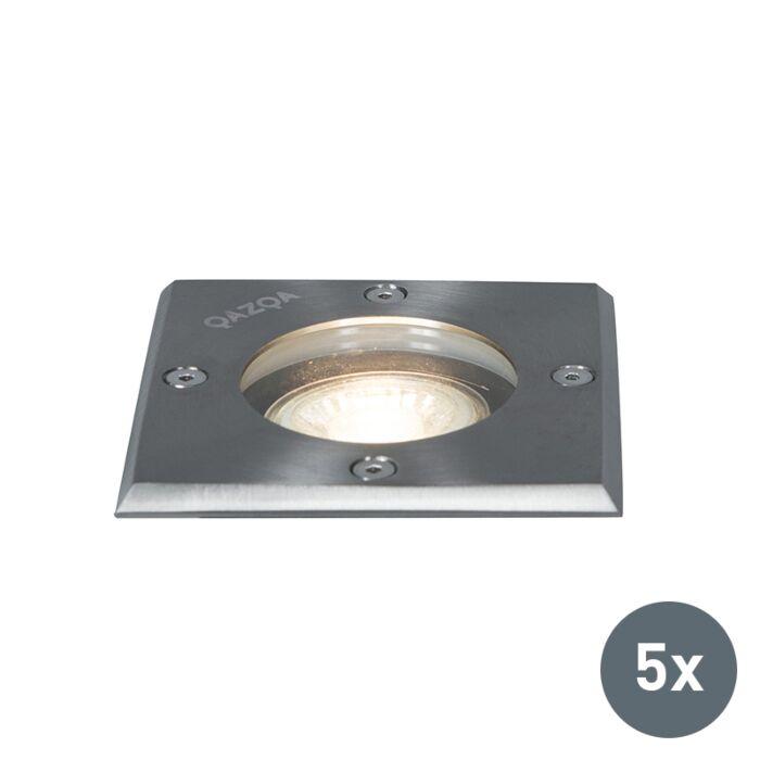 Set-of-5-Ground-spots-steel-IP65---Basic-Square