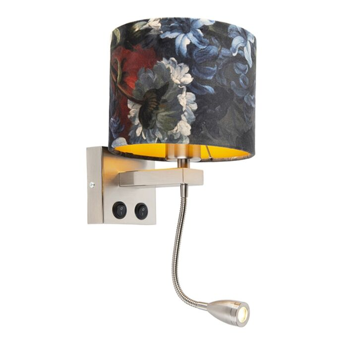 Wall-lamp-steel-with-velor-shade-flowers-with-gold---Brescia