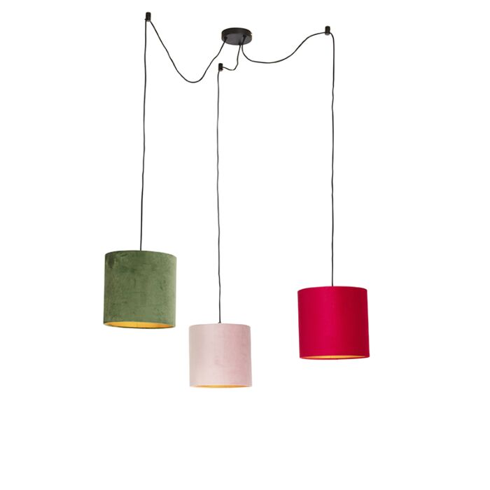 Hanging-lamp-with-velvet-shades-of-red,-green-and-pink---Cava