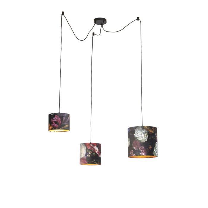 Hanging-lamp-with-3-velvet-shades-of-flowers-with-gold---Cava