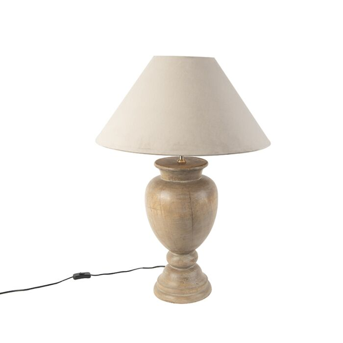 Country-table-lamp-wood-with-taupe-shade-velvet---Clover