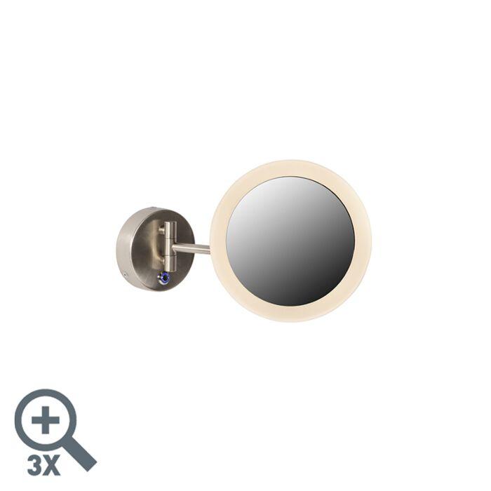 Modern-wall-mirror-chrome-incl.-LED-IP44---Barba