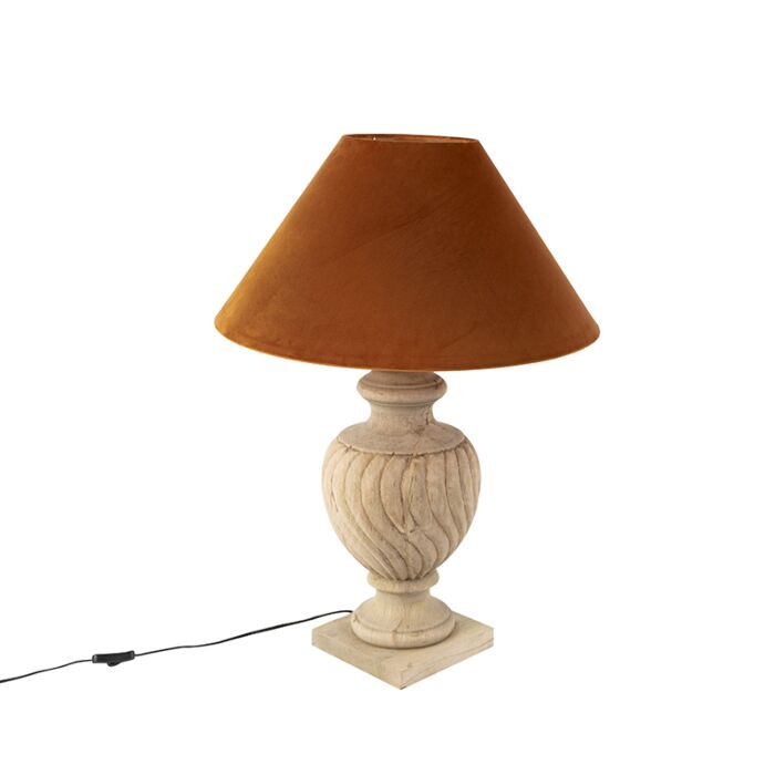 Country-table-lamp-with-velor-shade-pumpkin-spice-55-cm---Tansy