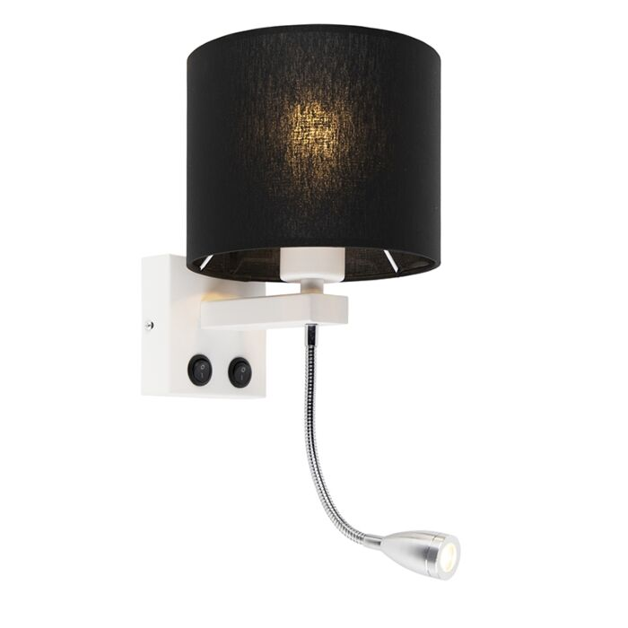 Modern-wall-lamp-white-with-black-shade---Brescia