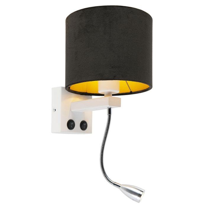 Modern-wall-lamp-white-with-shade-velor-black---Brescia
