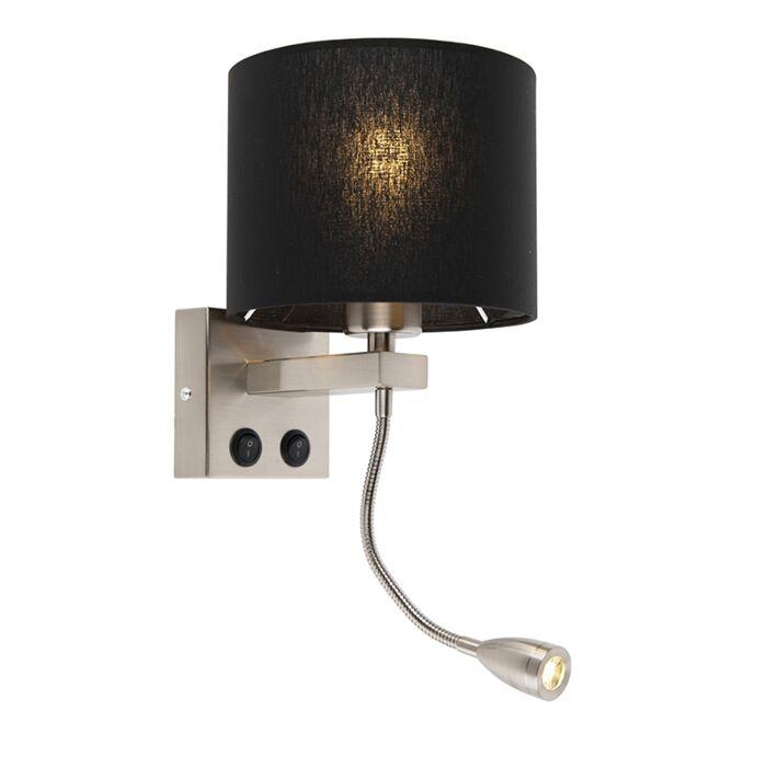Modern-wall-lamp-steel-with-black-shade---Brescia