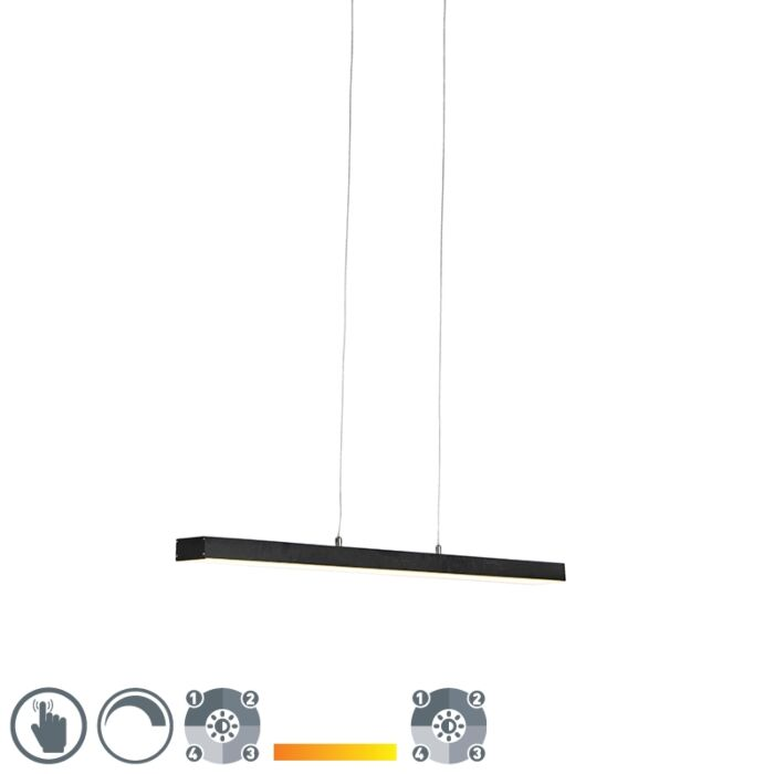 Hanging-lamp-black-four-steps-dimmable-incl.-LED-with-touch-dimmer---Oganda
