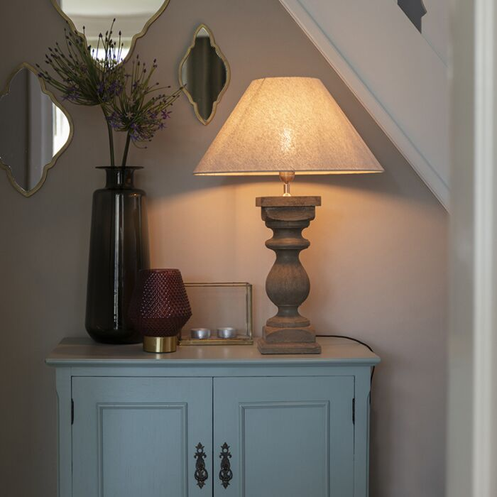 Country-table-lamp-with-linen-shade-beige-50-cm---Hyssop