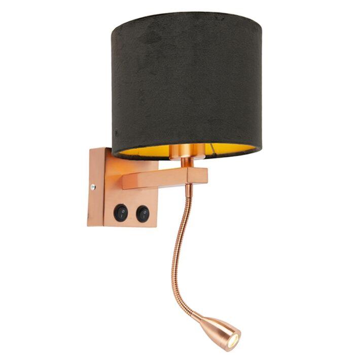 Modern-wall-lamp-copper-with-shade-velor-black---Brescia