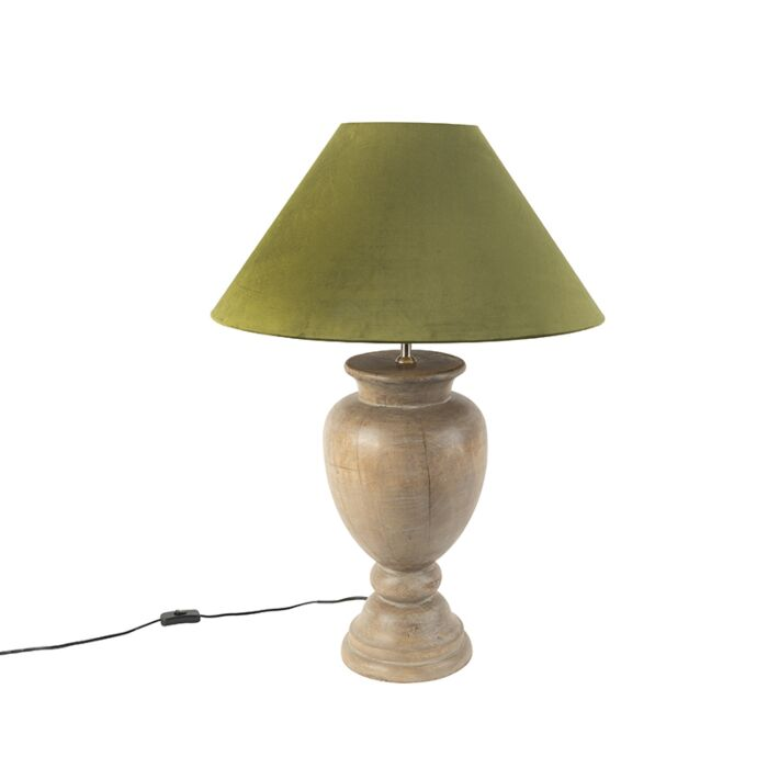 Country-Table-Lamp-with-55cm-Velvet-Shade-Moss-Green---Clover