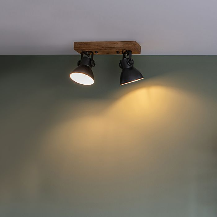 Industrial-spot-black-with-mango-wood-2-lights---Mangoes