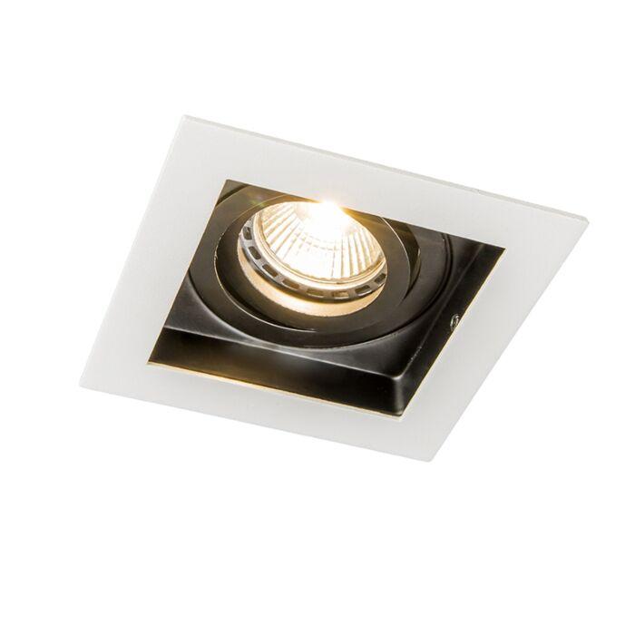 Set-of-10-recessed-spotlights-white-steel---Carree
