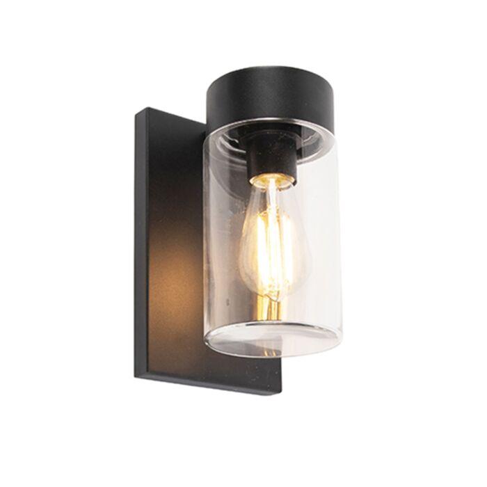 Modern-outdoor-wall-lamp-stainless-steel-black-IP44---Jarra