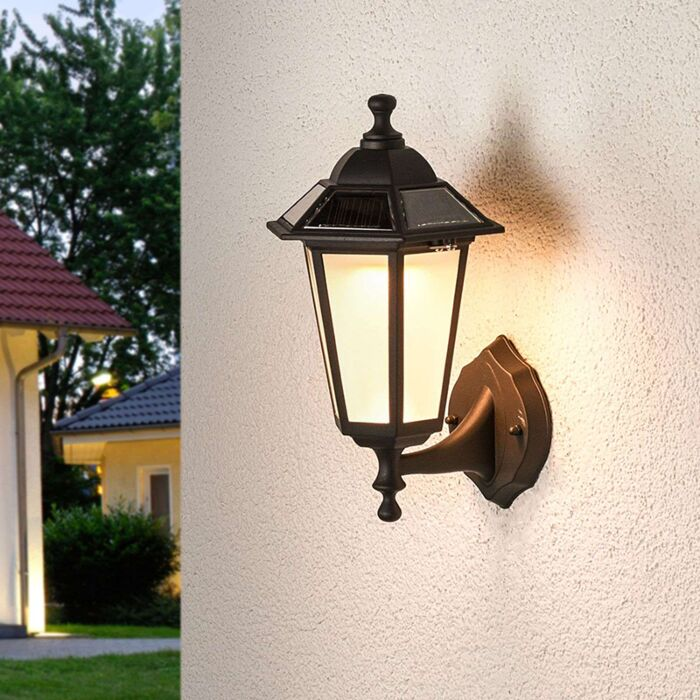 Classic-outdoor-lamp-black-lantern-incl.-LED-solar---Kristin