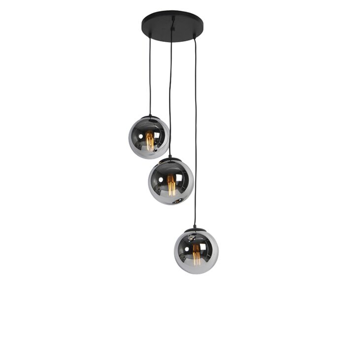 Art-deco-hanging-lamp-black-with-smoke-glass-3-light---Pallon