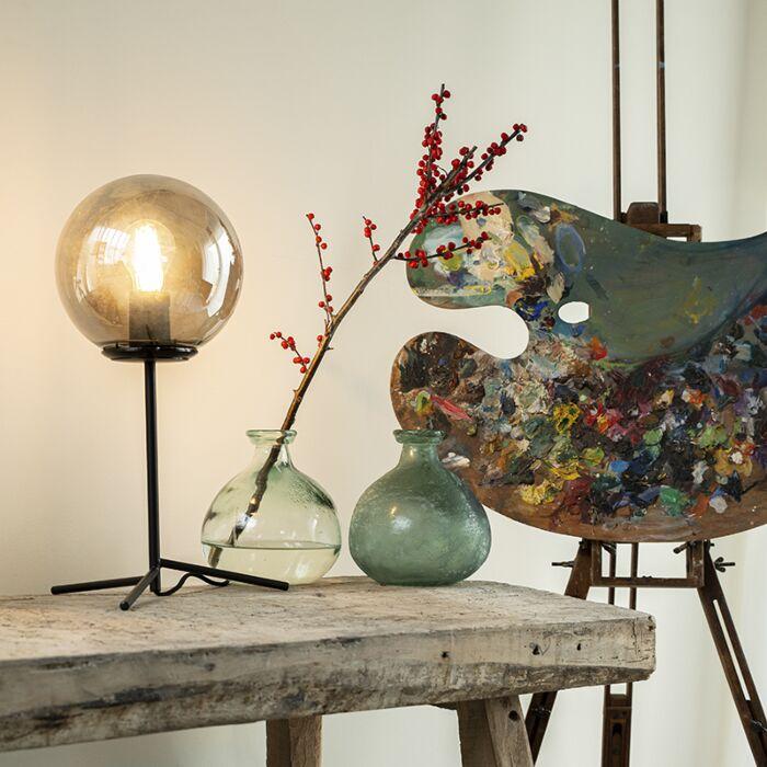 Art-Deco-Table-Lamp-45.5cm-Black-with-Smoke-Shade---Pallon