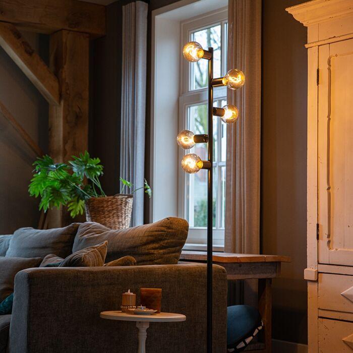 Scandinavian-Floor-Lamp-5-Black---Facil-Tube
