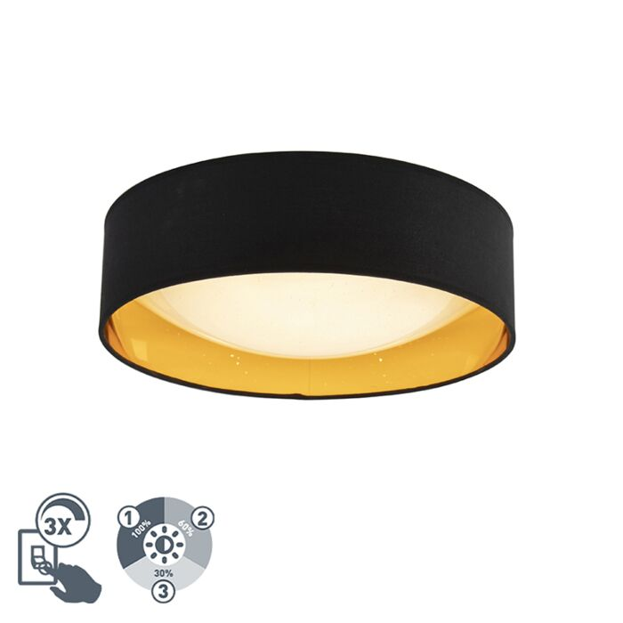 Modern-Ceiling-Lamp-Black-with-Gold-40cm-incl.-LED---Drum-Combi