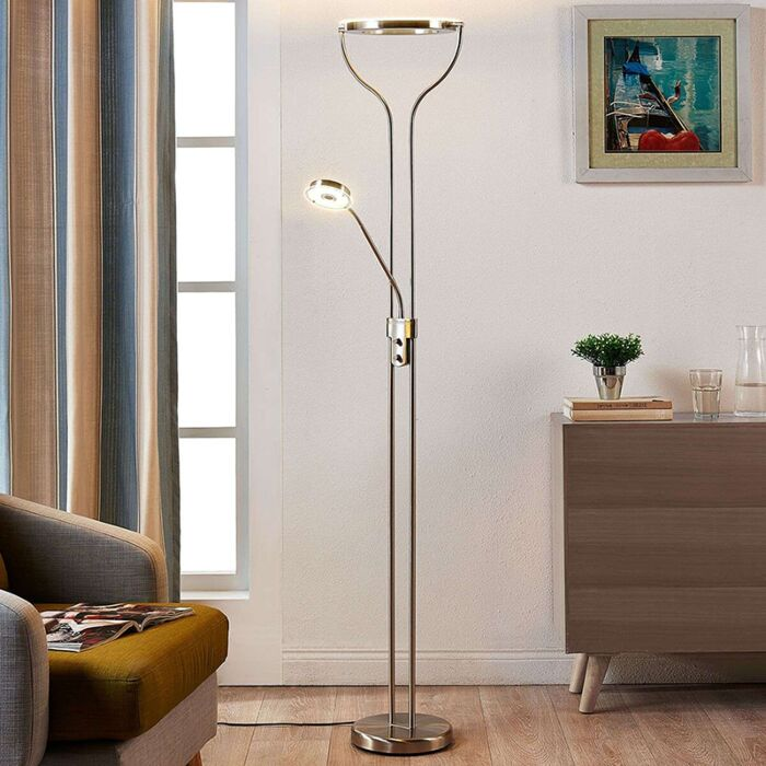 Modern Floor Lamp Aluminum With Reading Lamp Incl Led And Dimmer Lana Lampandlight