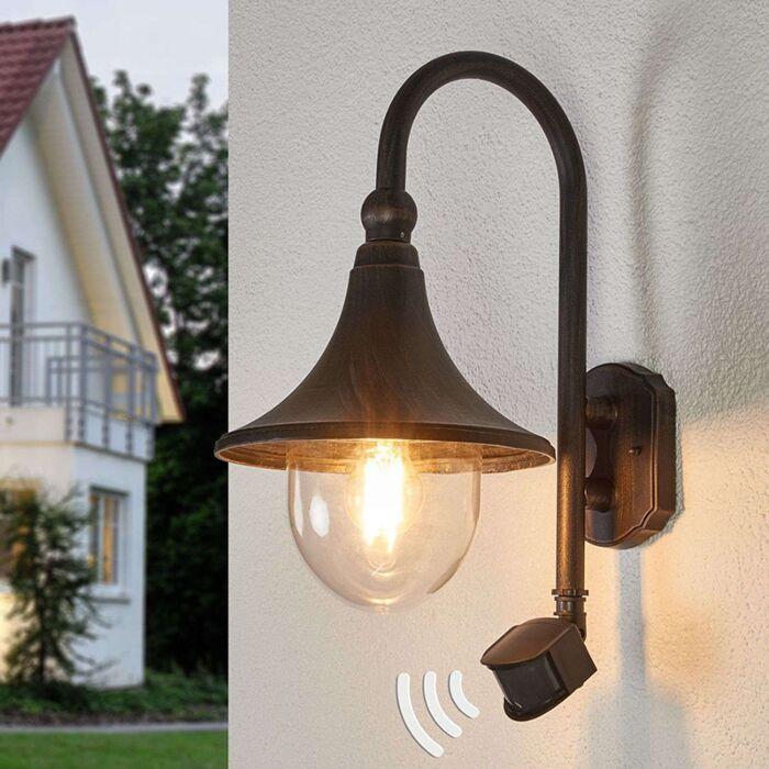 Outdoor-lamp-rust-brown-with-motion-sensor-IP44---Daphne