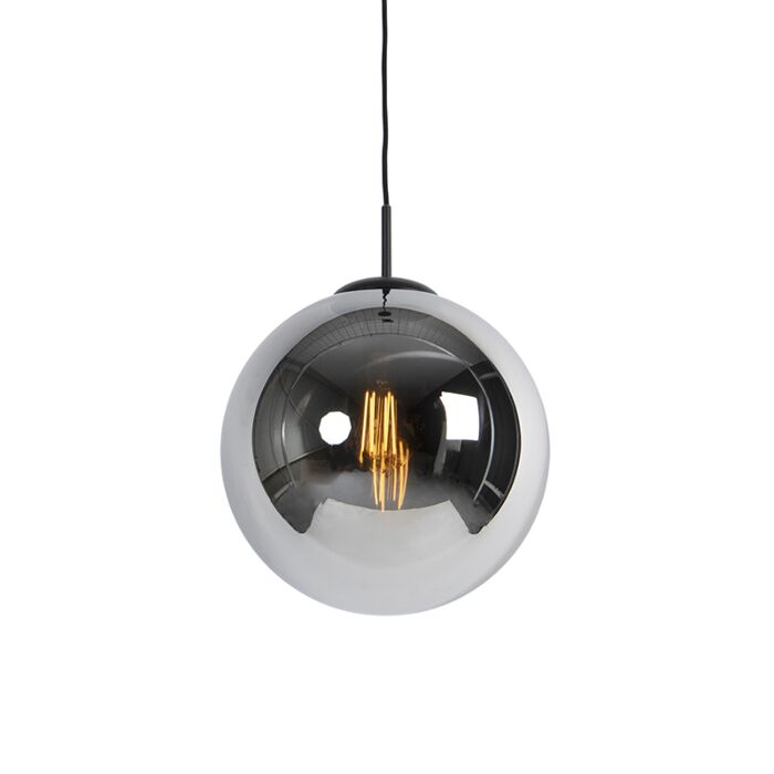 Art-Deco-Pendant-Lamp-30cm-Black-with-Smoke-Shade---Pallon