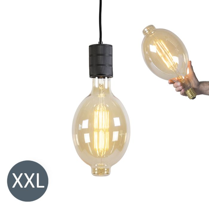 Pendant-Lamp-Colosseum-Black-with-Dimmable-LED-Bulb