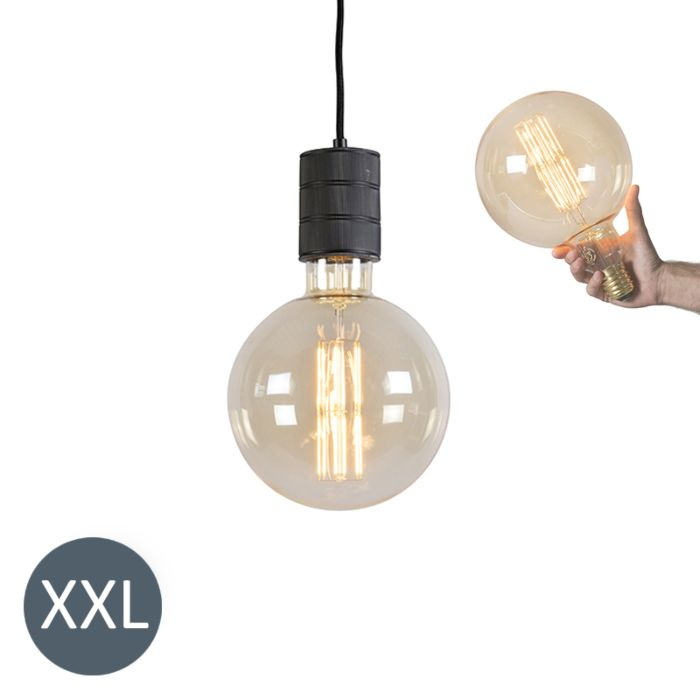 Pendant-Lamp-Megaglobe-Black-with-Dimmable-LED-Bulb