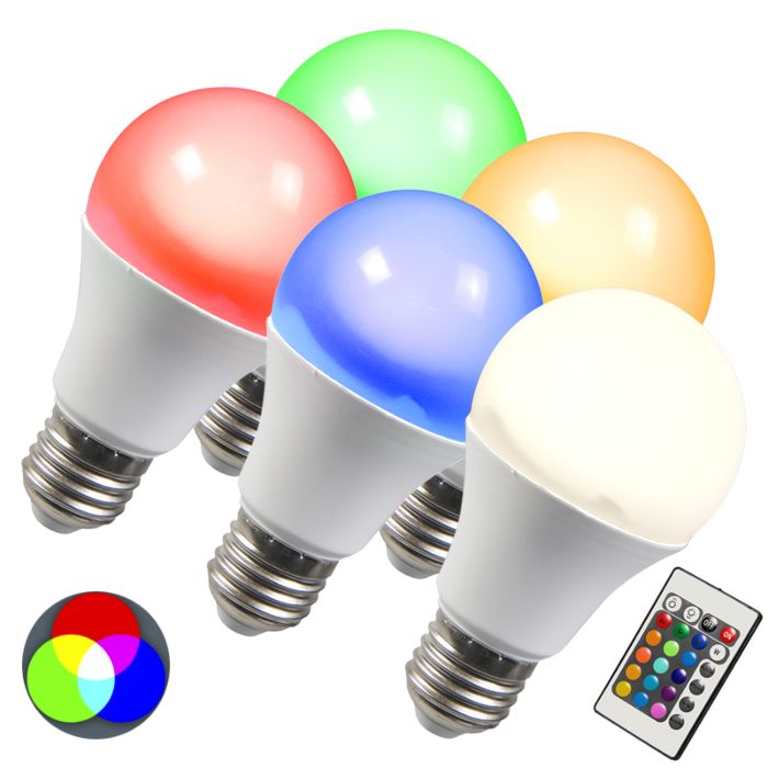 Set-of-5-E27-LED-RGB-3W