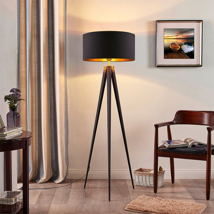 Tripod-floor-lamp-with-black-shade-with-gold-interior---Benik
