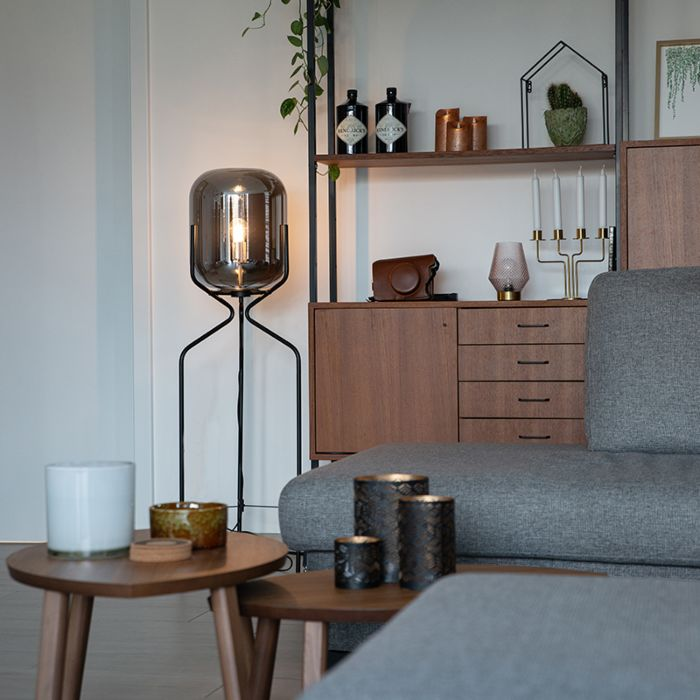 Design-floor-lamp-black-with-smoke-glass---Bliss