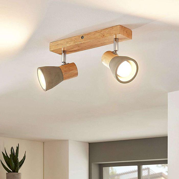 Landelijke-plafondlamp-hout-met-beton-2-lichts-incl.-LED---Filiz