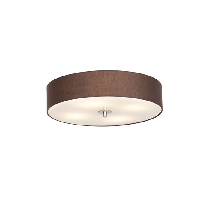 Country-Round-Ceiling-Lamp-50cm-Brown---Drum