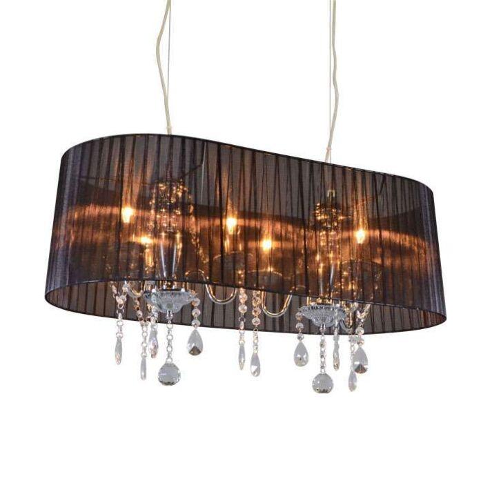 Classic-chandelier-chrome-with-black-shade-80-cm---Ann-Kathrin