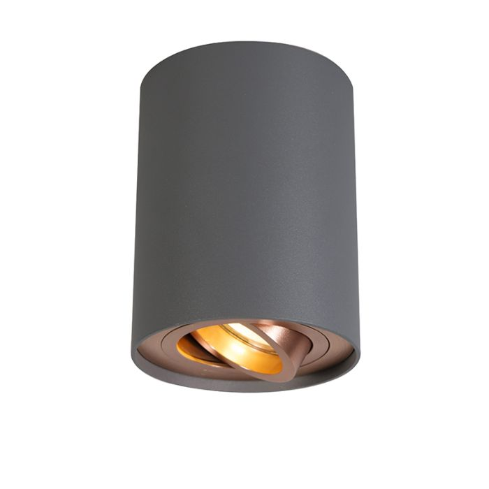 Ceiling-Spotlight-Grey-with-Copper---Rondoo-Up