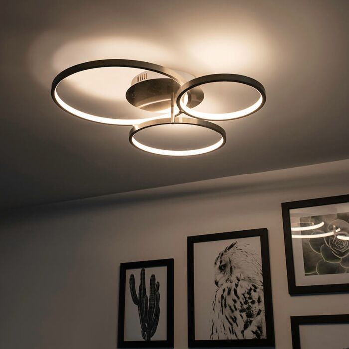 Modern ceiling lamp steel incl. LED and dimmer Rondas