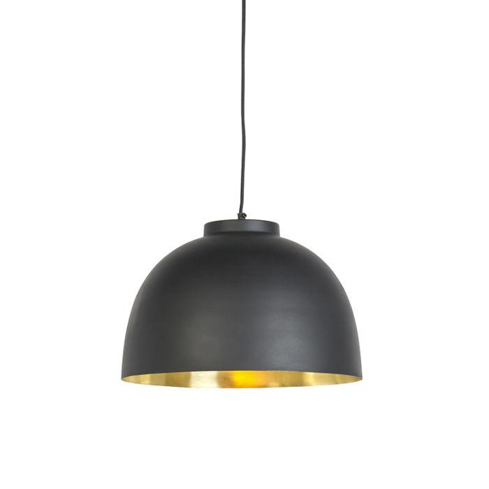 Hanging-lamp-black-with-brass-inside-40-cm---Hoodi