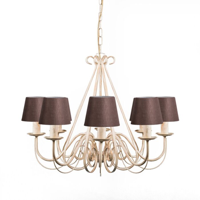 Chandelier-Aged-White-with-Brown-Linen-Clamp-Shades---Giuseppe-8