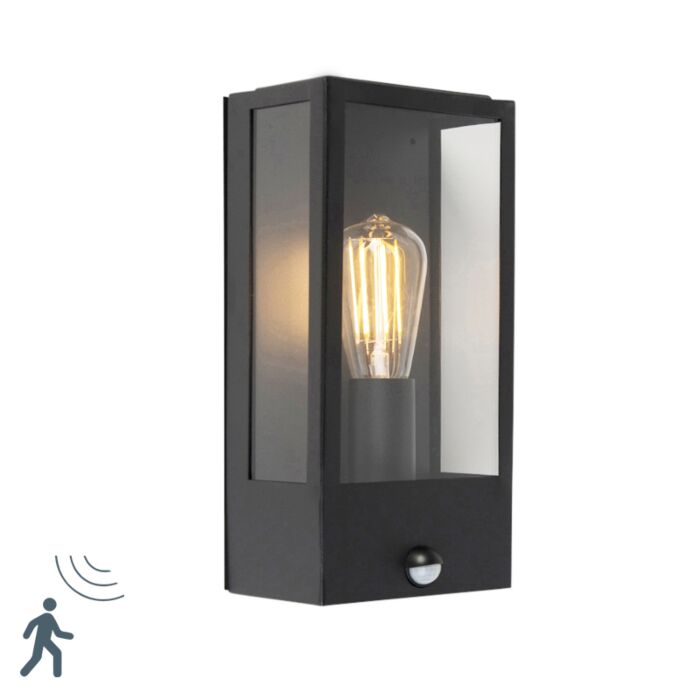 Exterior-wall-light-black-with-motion-detector-IP44---Rotterdam-1