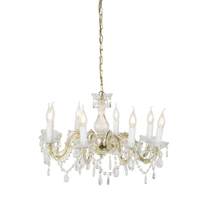 Chandelier-crystal-brass-S-arm-8-lights---Marie-Theresa