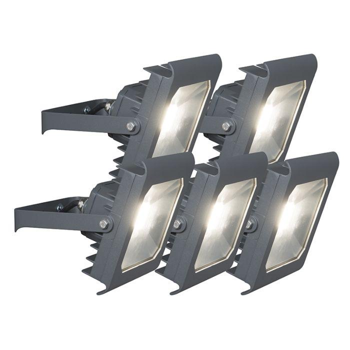 Set-of-5-Flood-Light-Radius-2-LED-30W-4000K-Dark-Grey