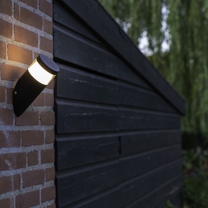Modern-Oblique-Outdoor-Wall-Lamp-Black-Incl.-LED---Prim