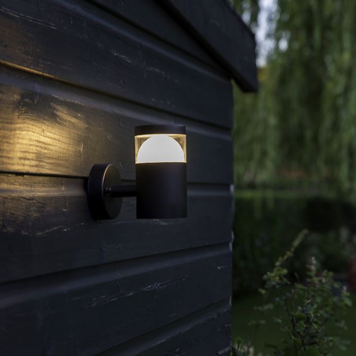 Modern-Round-Outdoor-Wall-Lamp-Up-Black-incl.-LED---Prim