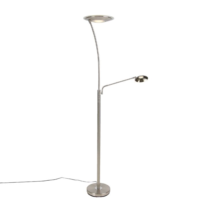 Modern-Floor-Lamp-Uplighter-with-Reading-Arm-Steel-incl.-LED---Monte-Carlo